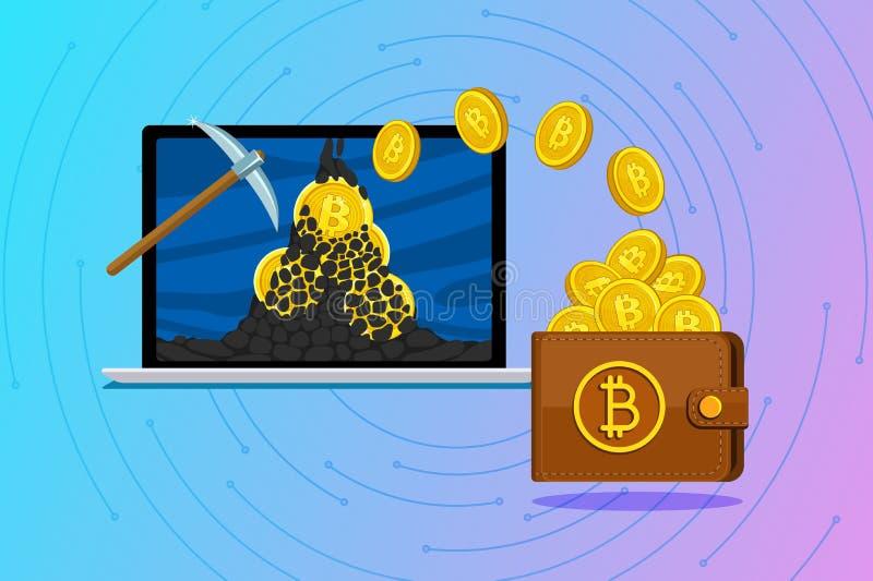 Conceito do cryptocurrency Bitcoins da mineração e cryptocurrency do salário ilustração royalty free