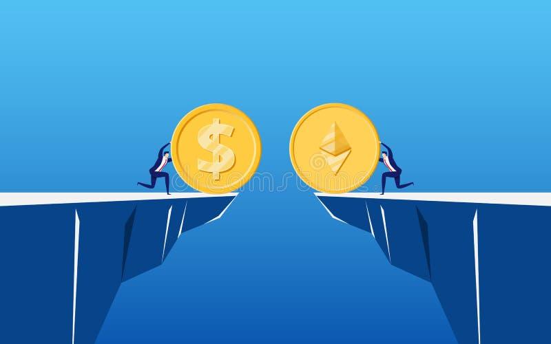 Conceito do cryptocurrency digital de Ethereum do negócio virtual Os executivos guardam Ethereum dourado para trocar no penhasco ilustração royalty free