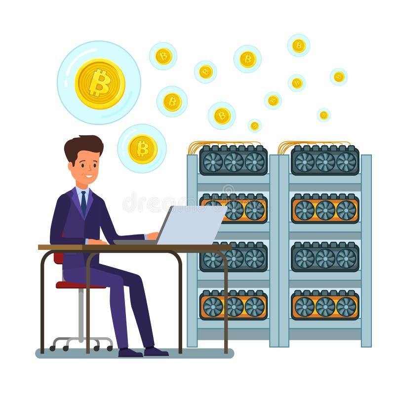 Conceito do cryptocurrency Homem de negócios que mina a moeda digital ilustração stock