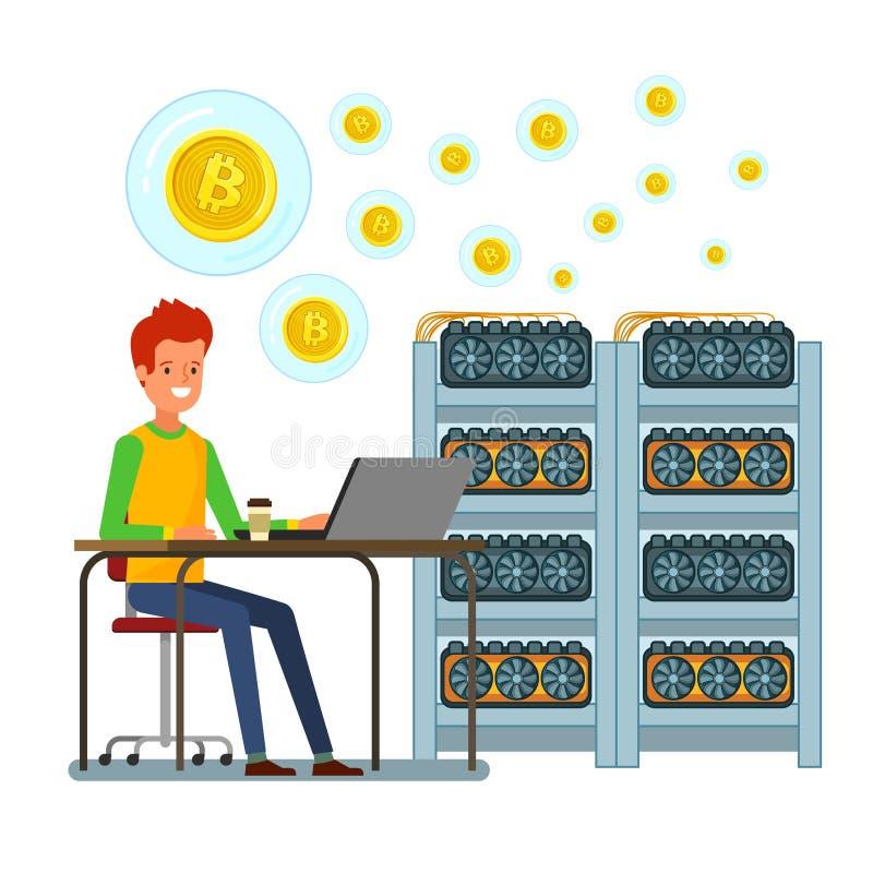 Conceito do cryptocurrency Homem de negócios que mina a moeda digital ilustração do vetor