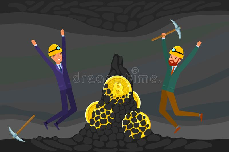 Conceito do cryptocurrency Mineração do homem de negócios para encontrar bitcoins e cryptocurrency do salário ilustração stock
