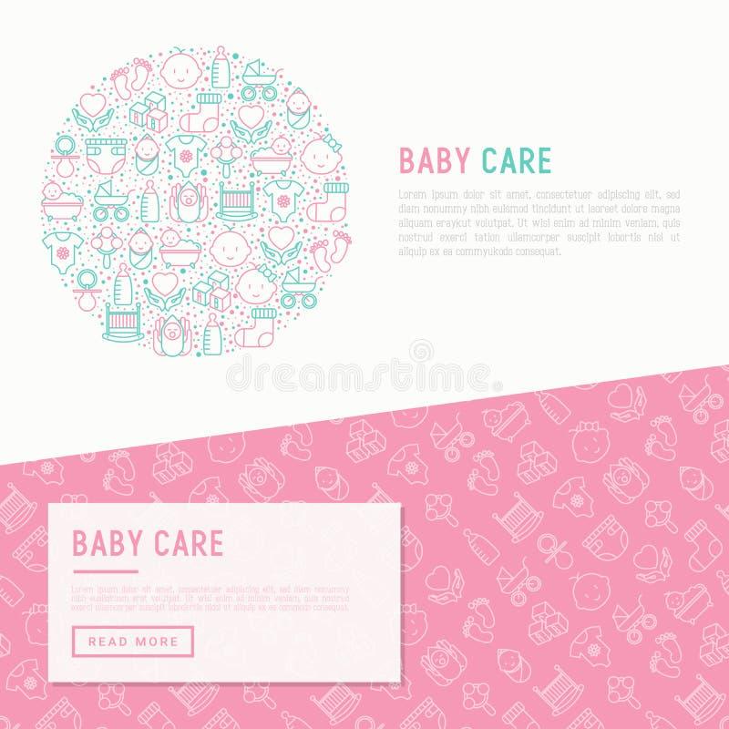 Conceito do cuidado do bebê no círculo ilustração do vetor