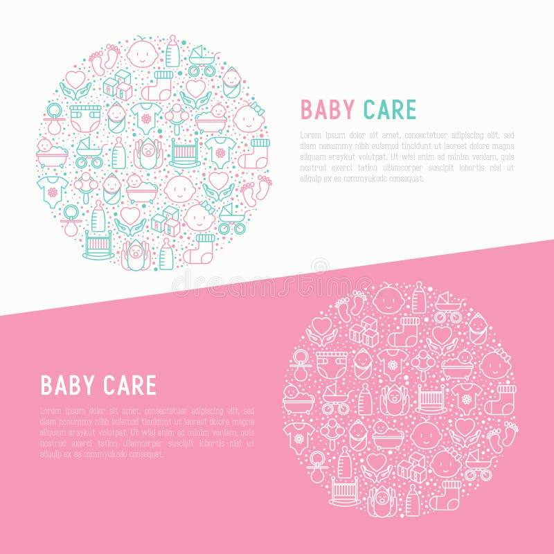Conceito do cuidado do bebê no círculo ilustração stock