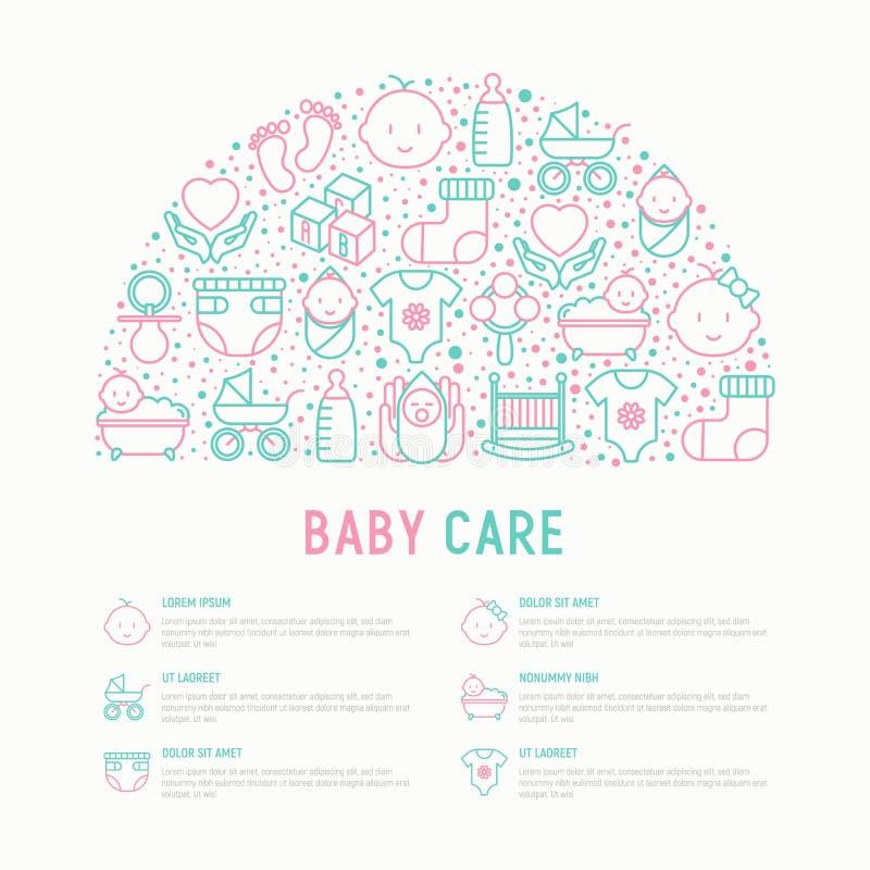Conceito do cuidado do bebê no meio círculo ilustração royalty free