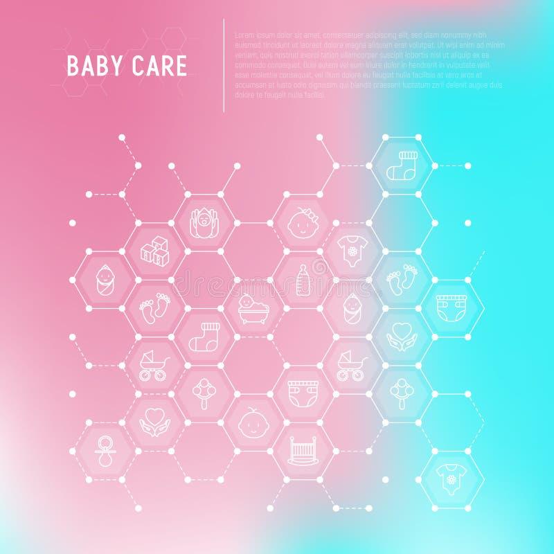Conceito do cuidado do bebê nos favos de mel ilustração do vetor