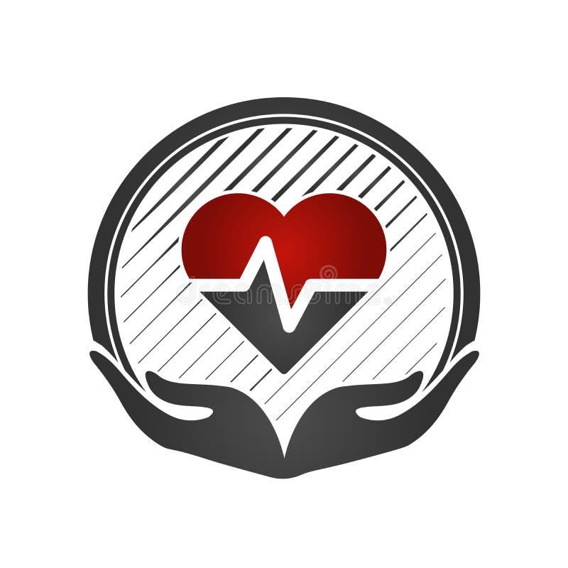 Conceito do cuidado do coração Cardio- vascular Mãos que prendem um coração vermelho Ícone médico liso Ilustração do vetor ilustração do vetor