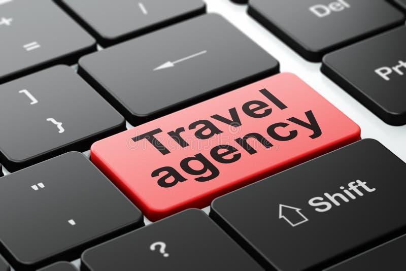 Conceito do curso: Agência de viagens no fundo do teclado de computador ilustração royalty free