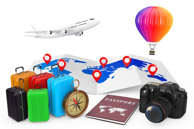 conceito do curso Avião com o balão de ar quente sobre a sagacidade do mapa do mundo ilustração do vetor