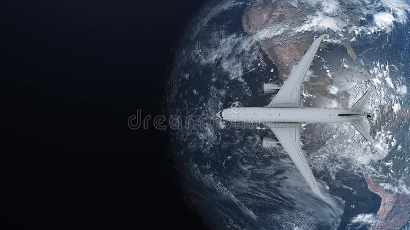 Conceito do curso do avião que voa em torno da terra no fundo do espaço ilustra??o 3D ilustração stock