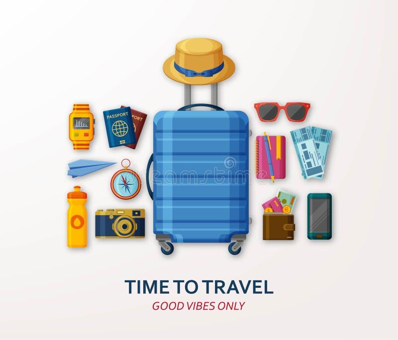 Conceito do curso com mala de viagem, óculos de sol, chapéu, câmera e compasso no fundo branco Boas vibrações somente ilustração do vetor