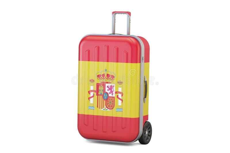 Conceito do curso da Espanha, mala de viagem com bandeira espanhola rendição 3d ilustração do vetor