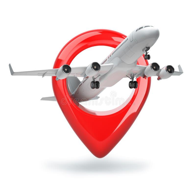 Conceito do curso da linha aérea Ponteiro do aeroporto Avião e pino ilustração do vetor