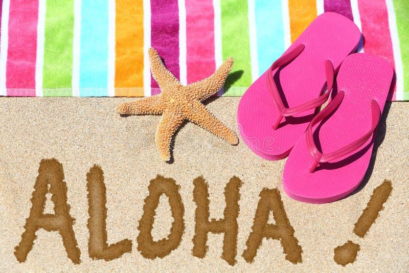 Conceito do curso da praia de Havaí - ALOHA fotos de stock royalty free