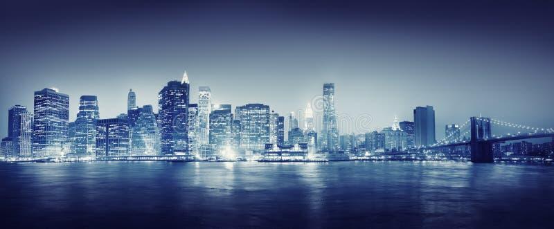 Conceito do curso das construções de Scape New York da cidade foto de stock