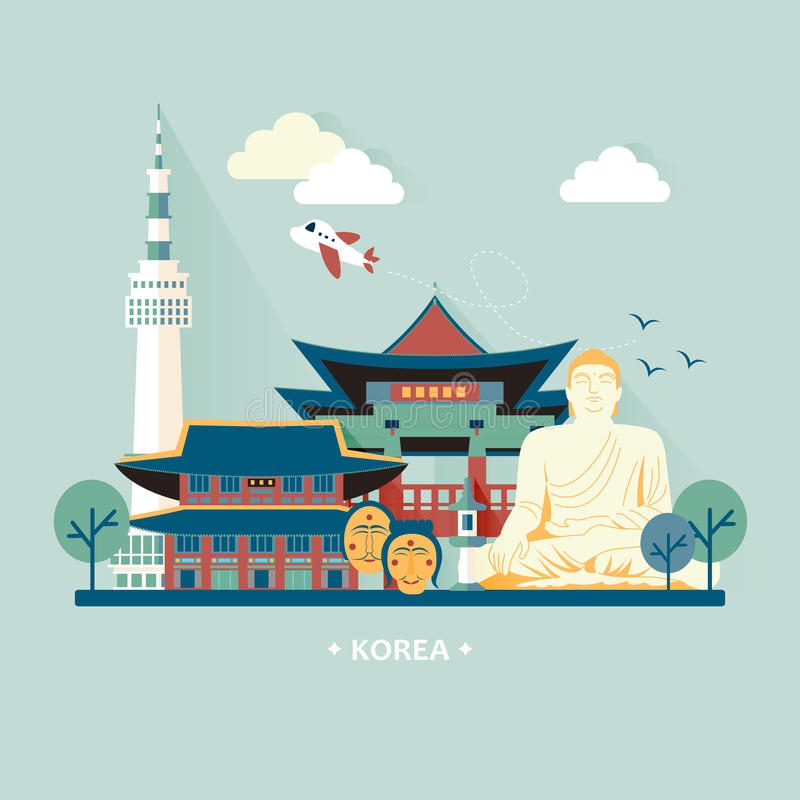 Conceito do curso de Coreia do Sul ilustração do vetor