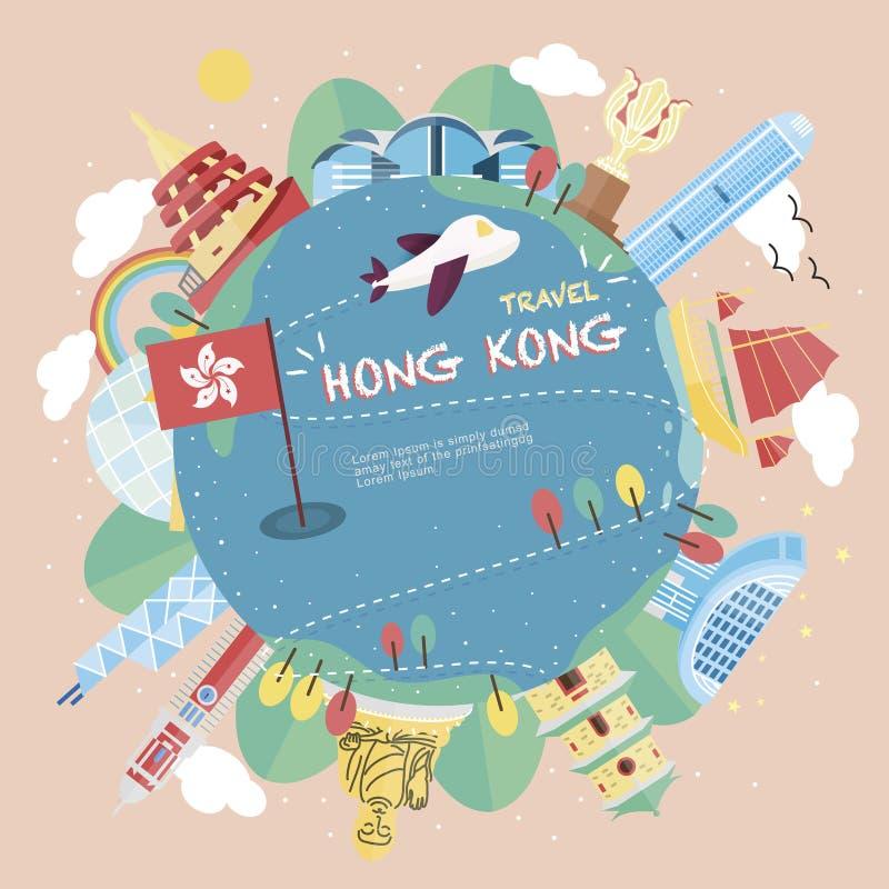 Conceito do curso de Hong Kong ilustração stock