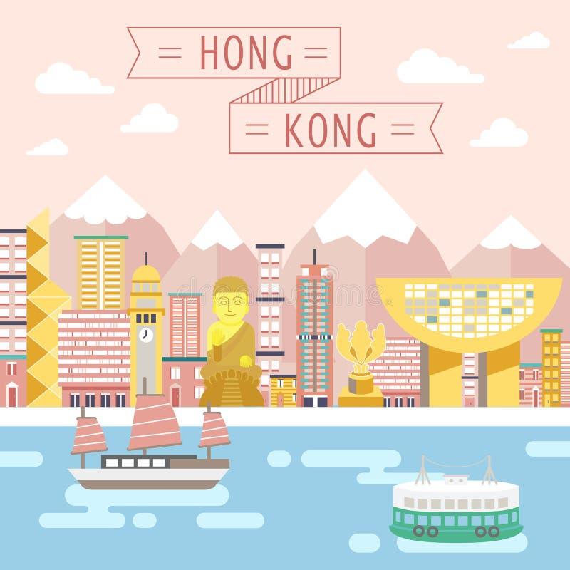 Conceito do curso de Hong Kong ilustração royalty free
