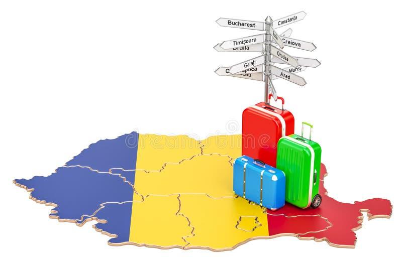 Conceito do curso de Romênia Mapa romeno com malas de viagem e letreiro ilustração royalty free
