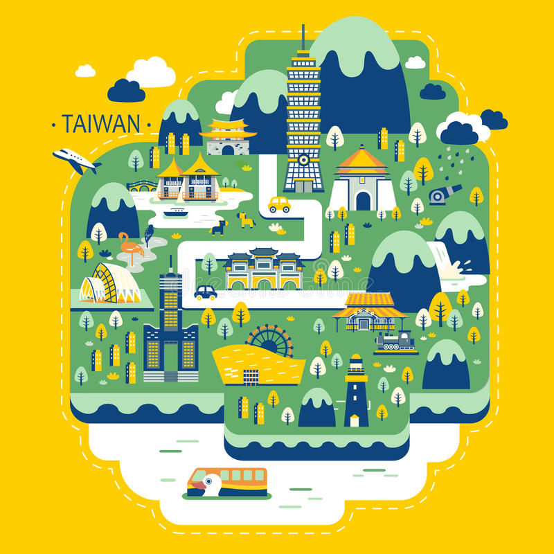 Conceito do curso de Taiwan ilustração royalty free