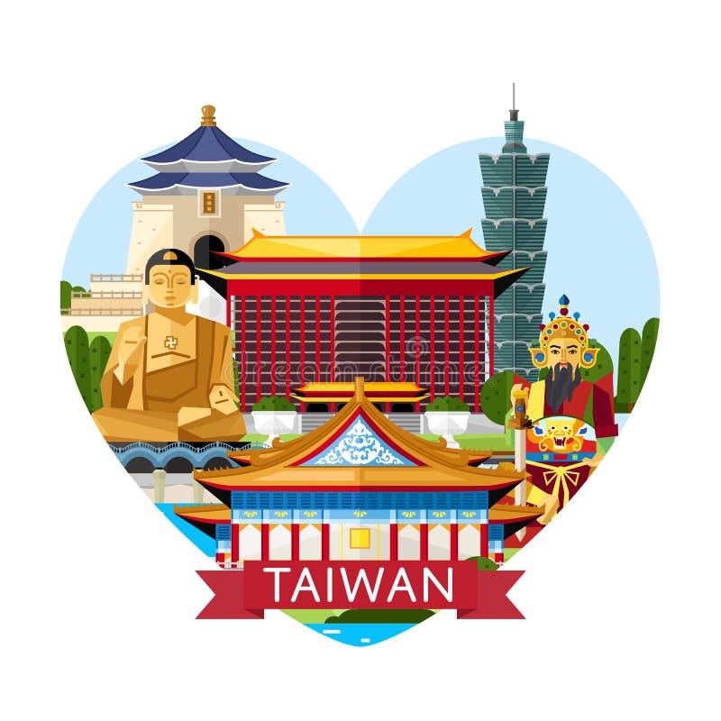 Conceito do curso de Taiwan com atrações famosas ilustração do vetor