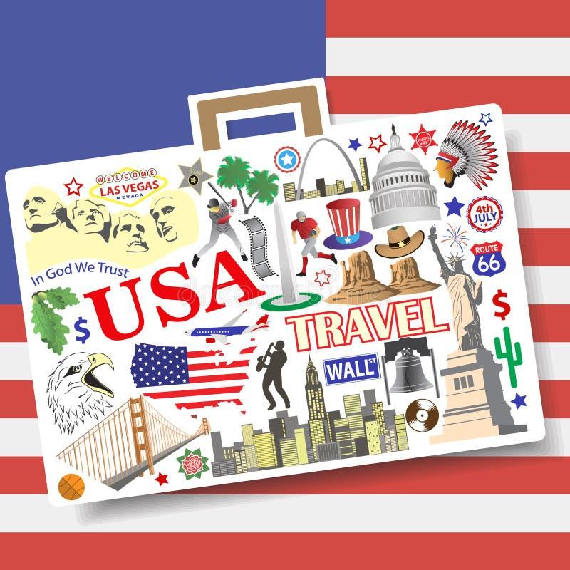 Conceito do curso dos EUA Ajuste ícones e símbolos do vetor no formulário da mala de viagem ilustração stock