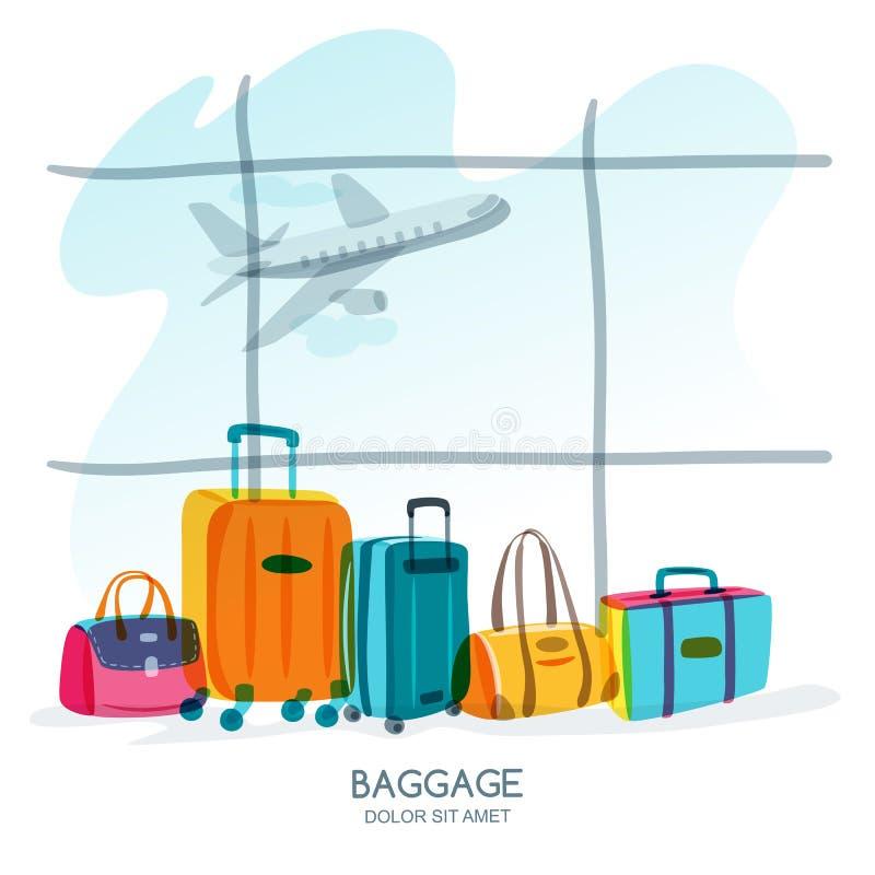 Conceito do curso e do turismo Bagagem multicolorido, mala de viagem, saco na janela do aeroporto Ilustração da garatuja do vetor ilustração royalty free
