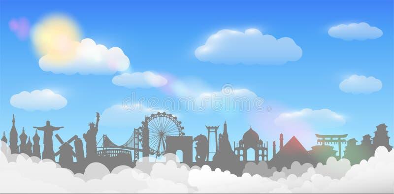 Conceito do curso do fundo do céu da nuvem do marco do mundo ilustração royalty free