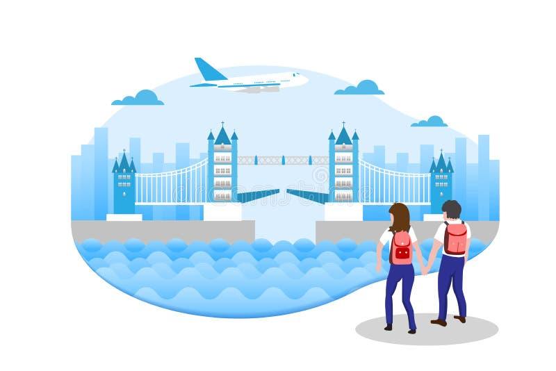 Conceito do curso, homens e turistas das mulheres que estão andando na Inglaterra ilustração stock