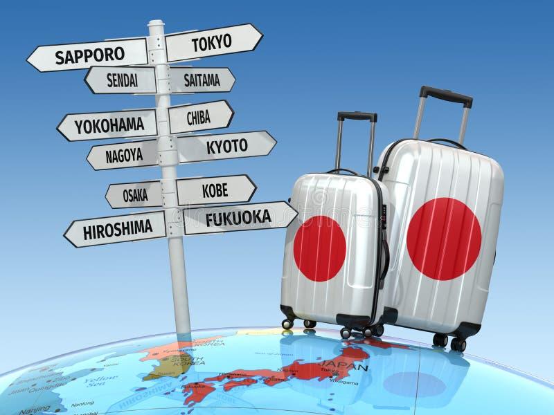 conceito do curso Malas de viagem e letreiro que a visitar em Japão ilustração do vetor