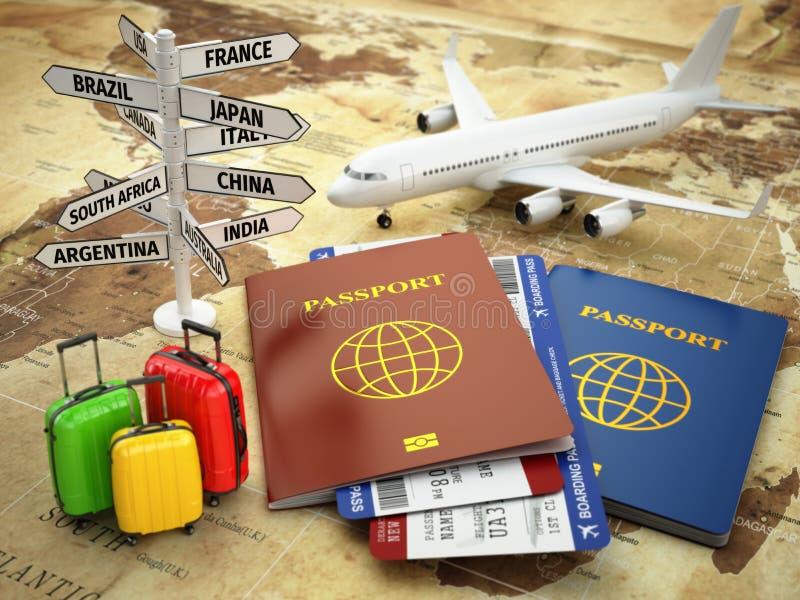 Conceito do curso ou do turismo Passaporte, avião ilustração do vetor