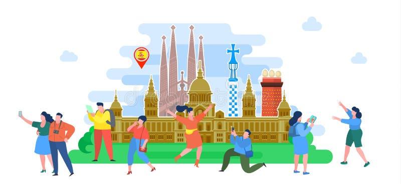 Conceito do curso ou do espanhol do estudo Turistas em Spain ilustração stock