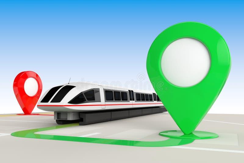 Conceito do curso do trem Trem da periferia futurista de alta velocidade super de cima do mapa abstrato da navegação com os ponte ilustração royalty free