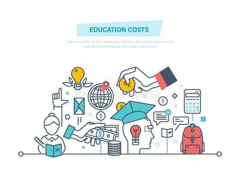 Conceito do custo de educação Invista o dinheiro na educação, dinheiro do estudo ilustração royalty free