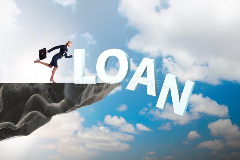 Conceito do débito e do empréstimo com mulher de negócios imagem de stock royalty free