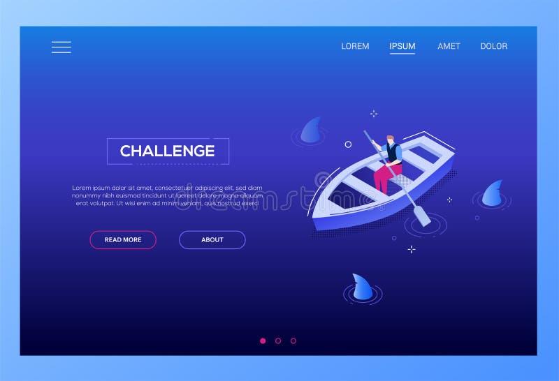 Conceito do desafio - bandeira isométrica moderna da Web do vetor ilustração do vetor