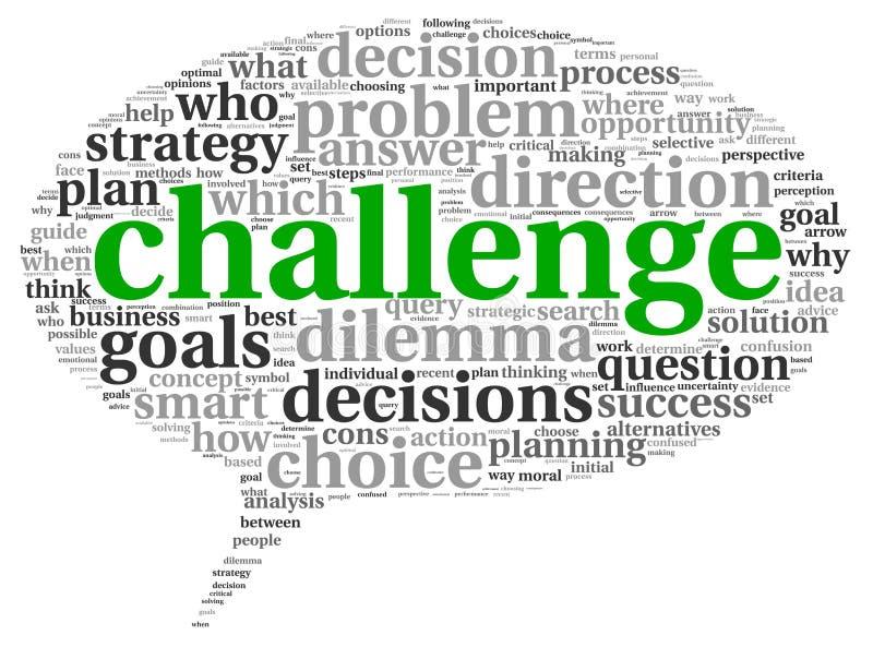 Conceito do desafio na nuvem da etiqueta da palavra ilustração stock