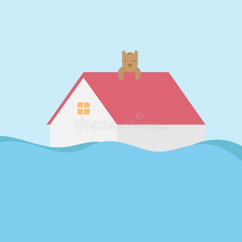 Conceito do desastre de inundação Inundação home sob a água e o cão no telhado ilustração royalty free