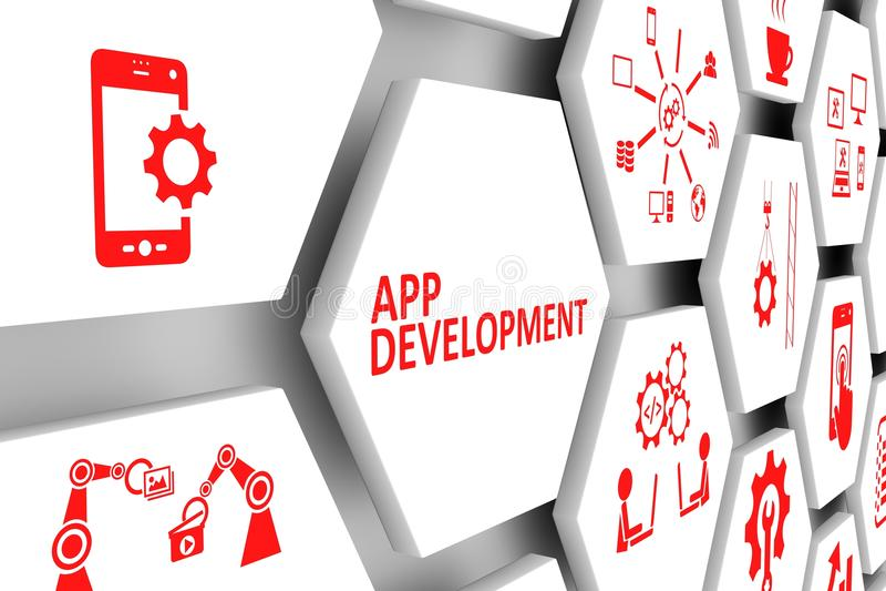 Conceito do desenvolvimento do App ilustração stock