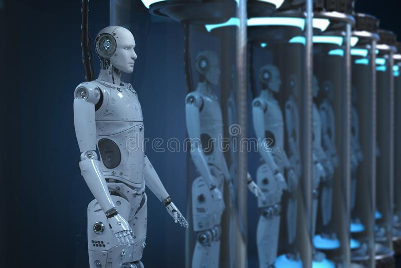 Conceito do desenvolvimento da inteligência artificial ilustração royalty free