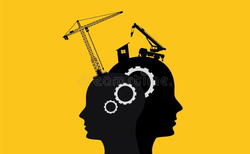 Conceito do desenvolvimento da inteligência do cérebro com cabeça humana do sillhouette dois ilustração royalty free