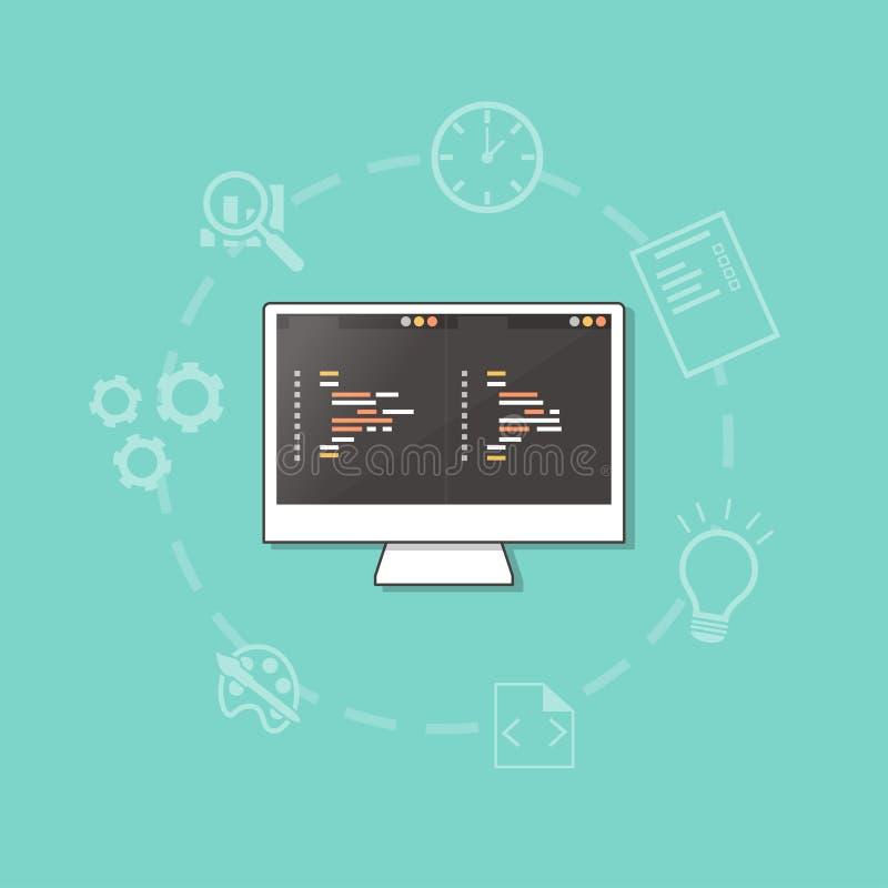 Conceito do desenvolvimento da Web ilustração do vetor