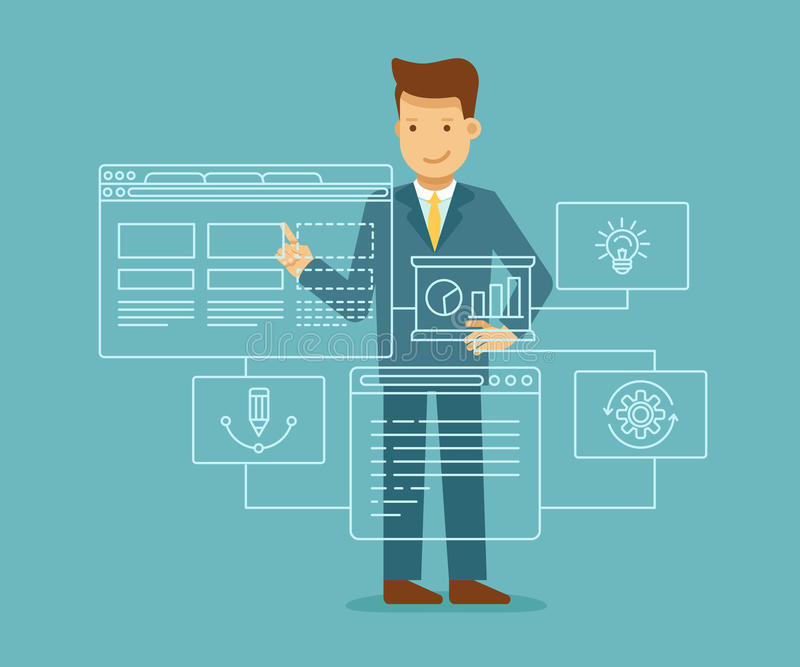 Conceito do desenvolvimento da Web ilustração stock