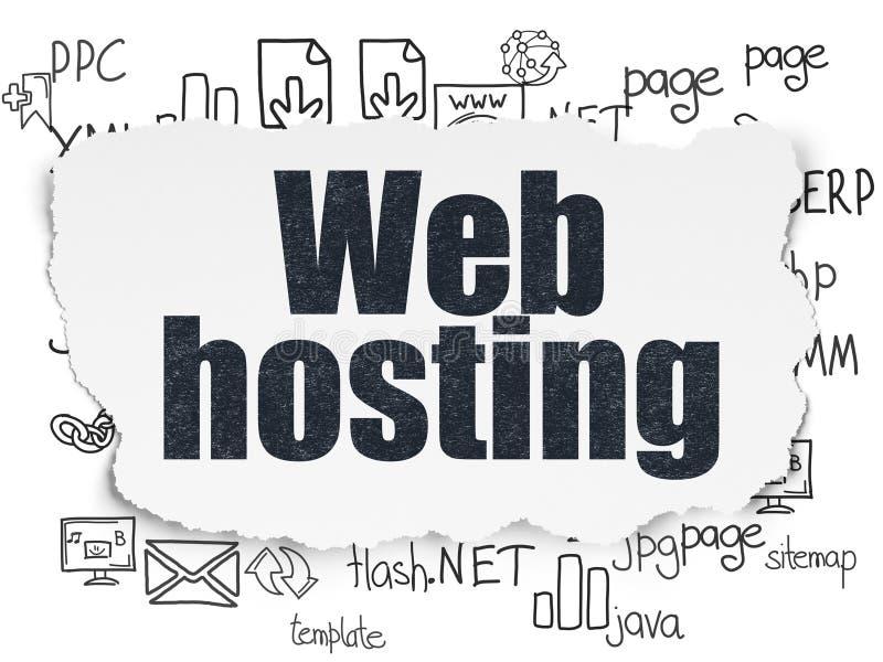 Conceito do desenvolvimento da Web: Alojamento web no papel rasgado fotografia de stock