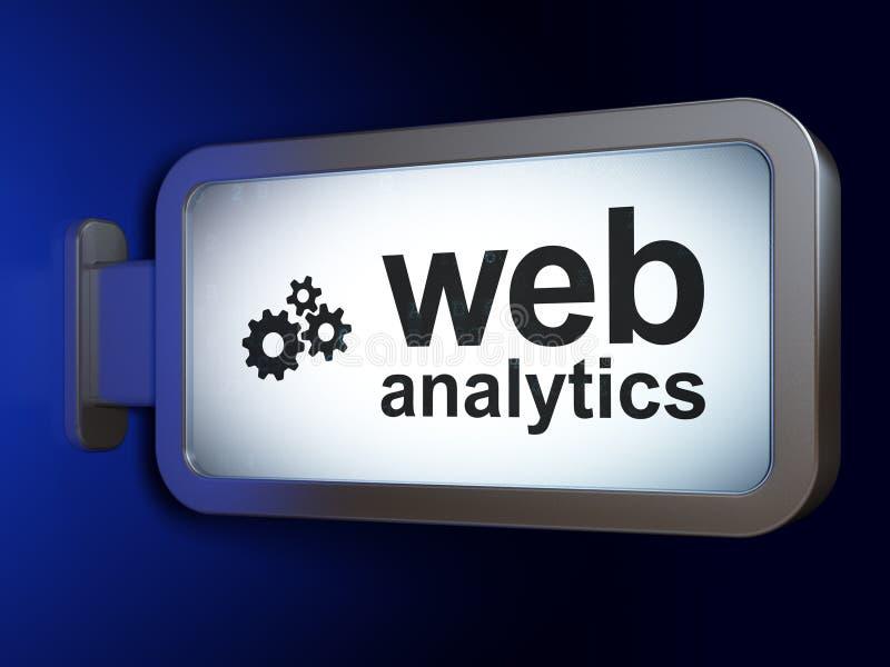 Conceito do desenvolvimento da Web: Analítica e engrenagens da Web no fundo do quadro de avisos ilustração stock