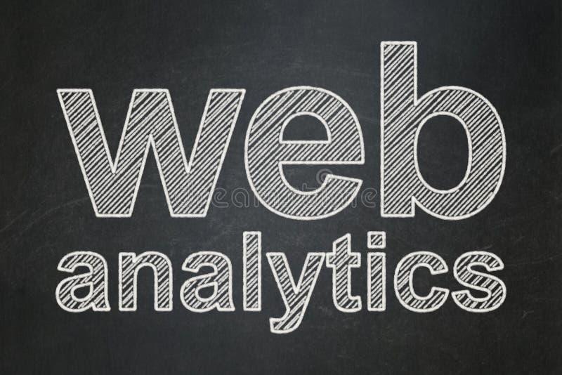 Conceito do desenvolvimento da Web: Analítica da Web no fundo do quadro ilustração stock