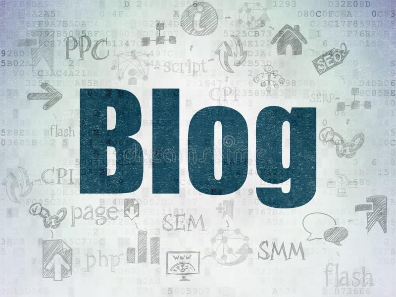 Conceito do desenvolvimento da Web: Blogue no fundo do papel dos dados de Digitas ilustração royalty free