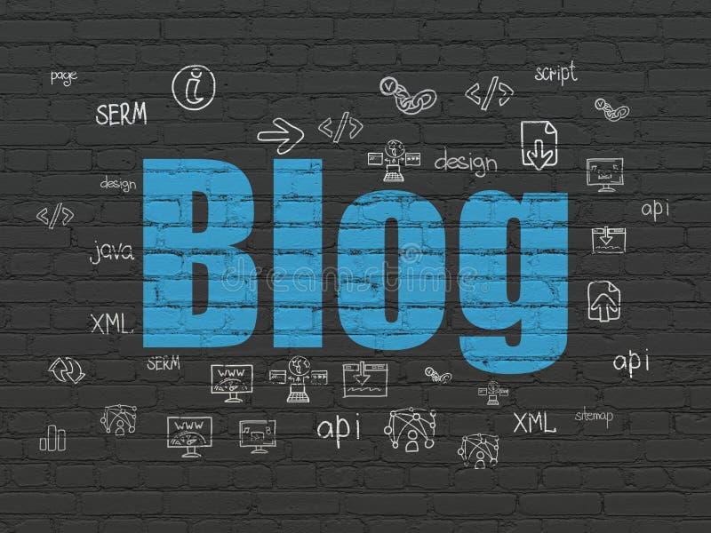Conceito do desenvolvimento da Web: Blogue no fundo da parede ilustração stock