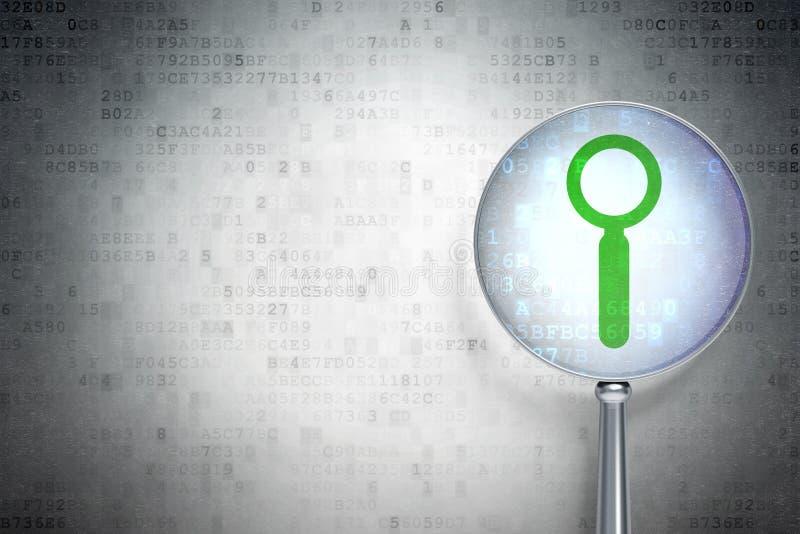 Conceito do desenvolvimento da Web:  Busca com vidro ótico no fundo digital foto de stock
