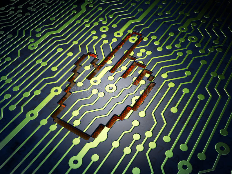 Conceito do desenvolvimento da Web: Cursor do rato no circuito ilustração do vetor