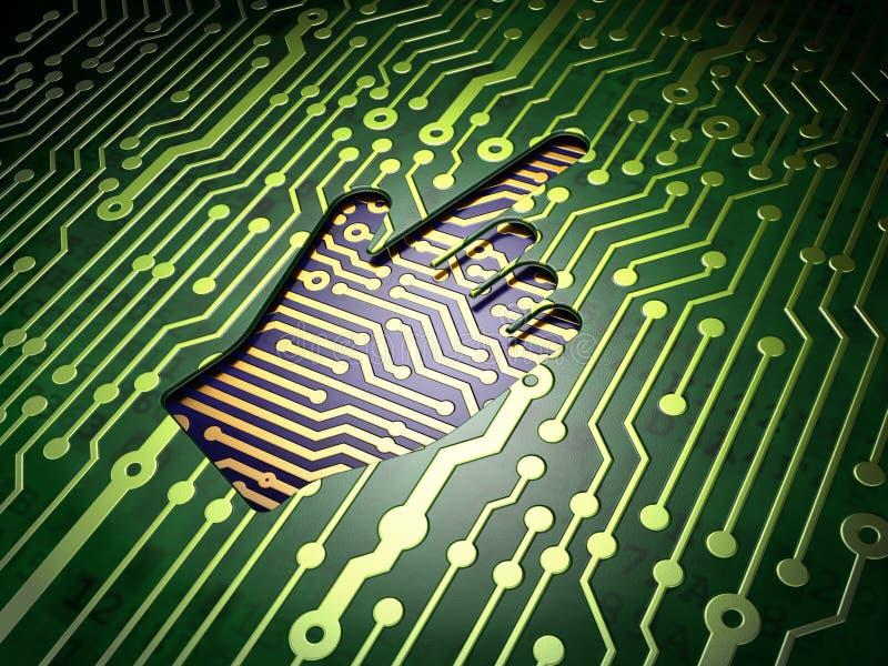 Conceito do desenvolvimento da Web: Cursor do rato no circuito ilustração stock